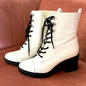 White Combat Style Lug Sole Boots